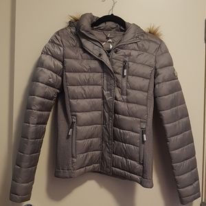 SUPERDRY lightweight-down w/removable fur